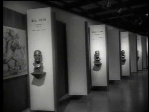 bronze busts in football hall of fame / canton, oh / sound - male likeness stock videos & royalty-free footage