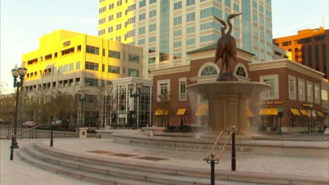 bronze sculpture trio of herons in fountain of town center w/ armada hoffler building bg - virginia beach stock videos & royalty-free footage