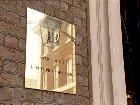 bronze sign indicating entrance of office of deputy prime minister - prime minister stock videos & royalty-free footage