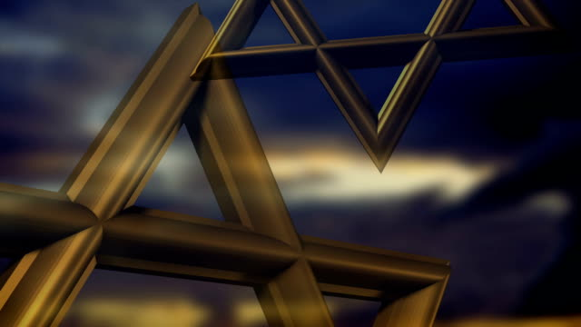 a bronze star of david in the clouds. - star of david stock videos and b-roll footage