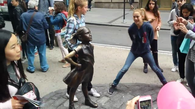 vídeos de stock, filmes e b-roll de a bronze statue of a urinating dog was placed near the fearless girl statue the dog statue was later removed broll and an interview with robin krych... - estátua