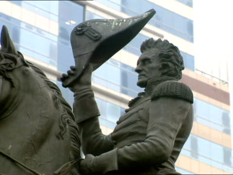 bronze statue of andrew jackson stands in the heart of downtown jacksonville, florida. - jacksonville florida video stock e b–roll