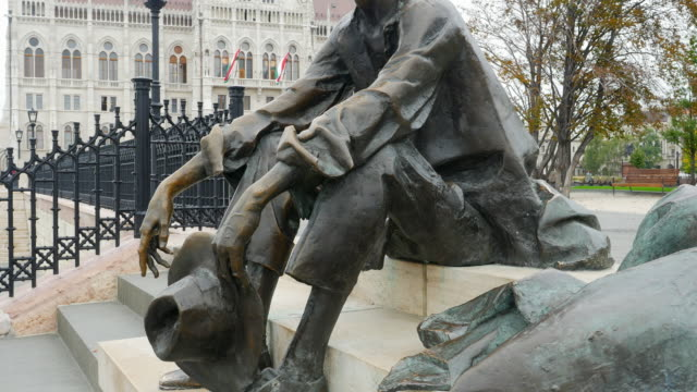 bronze statue of attila józsef at the budapest hungarian parliament building - traditionally hungarian stock videos & royalty-free footage