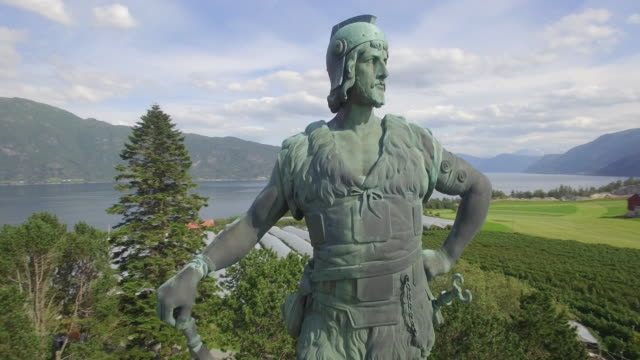 bronze statue of frithiof, vangsnes, sognefjord, sogn og fjordane, norway - viking stock videos and b-roll footage