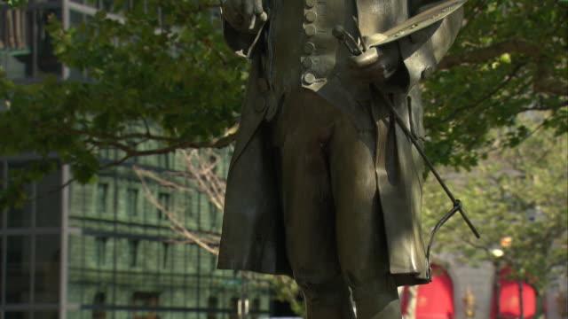 ms tu bronze statue of john singleton copley, by lewis cohen / boston, massachusetts, usa - back bay boston stock videos & royalty-free footage