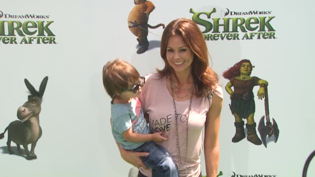 brooke burke and guest at the 'shrek forever after' premiere at universal city ca - brooke burke stock videos and b-roll footage