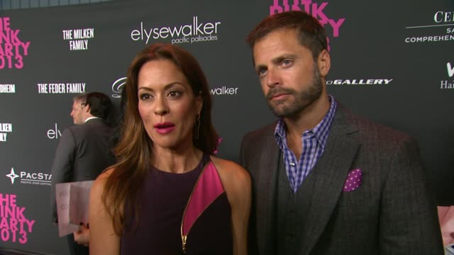 interview brooke burkecharvet david charvet on the event at elyse walker presents the pink party¨ 2013 hosted by anne hathaway to benefit the women's... - brooke burke stock videos and b-roll footage