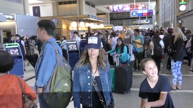 interview brooke burkecharvet david charvet talk about how their kids are good cooks while departing at lax airport in los angeles in celebrity... - brooke burke stock videos and b-roll footage