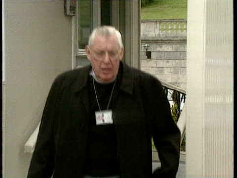 brooke initiative talks sir ninian stephen to chair northern ms rev ian paisley out of building and down steps towards lms gerry collins getting into... - ninian stephen stock videos and b-roll footage