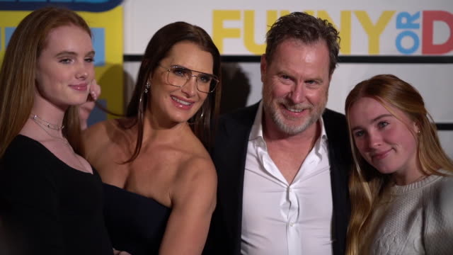 brooke shields and chris henchy and guests at impractical jokers: the movie at amc lincoln square theater on february 18, 2020 in new york city. - ブルック シールズ点の映像素材/bロール