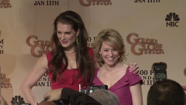 brooke shields and elizabeth banks at the 66th annual golden globe awards nominations at los angeles ca - brooke shields stock videos and b-roll footage