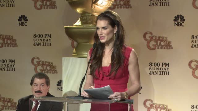 brooke shields announces the 66th annual golden globe awards nominees at the 66th annual golden globe awards nominations at los angeles ca - brooke shields stock videos and b-roll footage