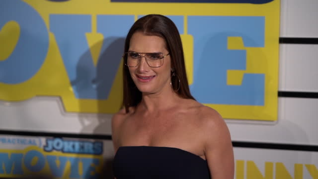 brooke shields at impractical jokers: the movie at amc lincoln square theater on february 18, 2020 in new york city. - ブルック シールズ点の映像素材/bロール
