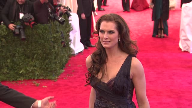 "brooke shields at ""schiaparelli and prada: impossible conversations"" costume institute gala at metropolitan museum of art on may 07, 2012 in new... - ブルック シールズ点の映像素材/bロール"