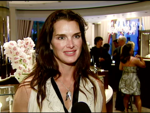 brooke shields on attending this event the opening how jewelry makes her feel and if she's given her daughters any jewelry yet at the garrard... - brooke shields stock videos and b-roll footage