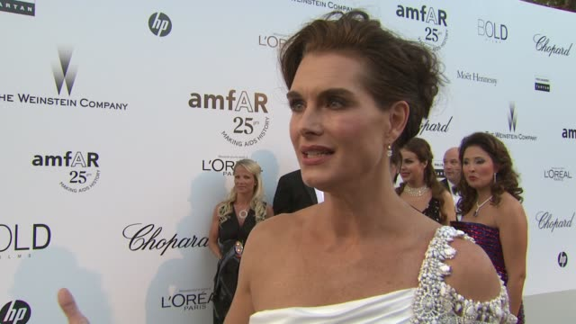 brooke shields on elizabeth taylor at the amfar gala red carpet arrivals : 64th cannes film festival at antibes . - ブルック シールズ点の映像素材/bロール