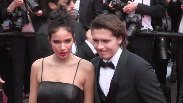 brooklyn beckham and hana cross on the red carpet for the screening of once upon a time in hollywood cannes france on tuesday may 21 2019 - 72nd international cannes film festival stock videos and b-roll footage