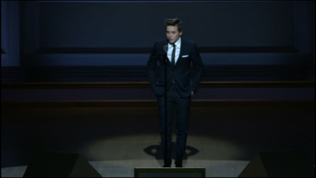 SPEECH Brooklyn Beckham present his mother with an award at Glamour Magazine's 25th Annual Women Of The Year Awards at Carnegie Hall on November 09...