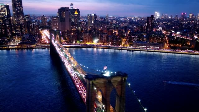 Brooklyn Bridge Aerial Orbit at Night