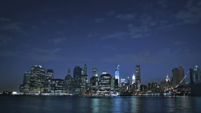 brooklyn bridge and freedom tower, manhattan, new york, usa - panoramic stock videos and b-roll footage