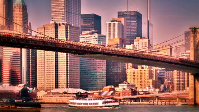 Brooklyn bridge and Manhattan downtown