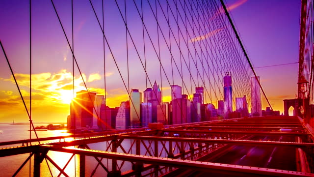 brooklyn bridge and manhattan evening skyline - bridge built structure stock videos and b-roll footage