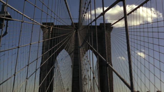 1966 ms pan brooklyn bridge and manhattan skyline / new york city, new york, usa - manhattan bridge stock videos and b-roll footage