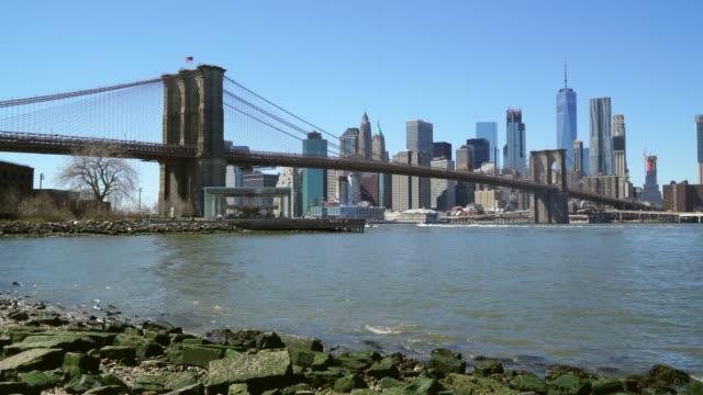 Brooklyn Bridge and Manhattan skyline on a clear Spring day, New York City