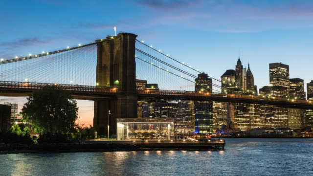 Brooklyn Bridge and Manhattan skyline.