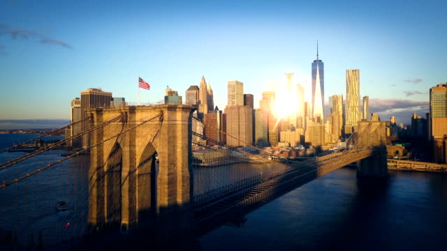brooklyn bridge and nyc skyline cinemagraph - world trade center manhattan stock videos and b-roll footage