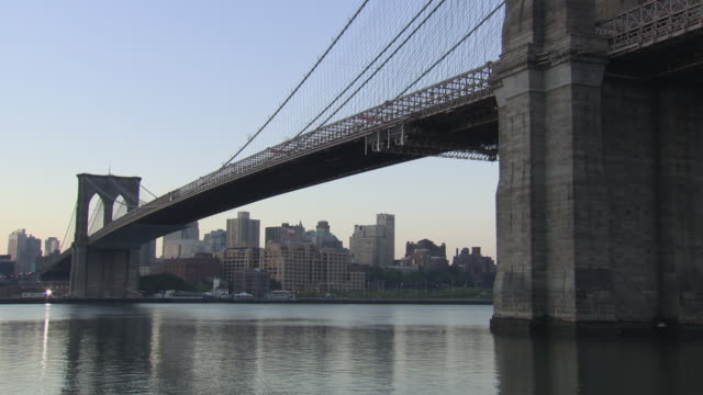 ms brooklyn bridge at early morning / new york city, new york, usa - brooklyn bridge stock videos & royalty-free footage