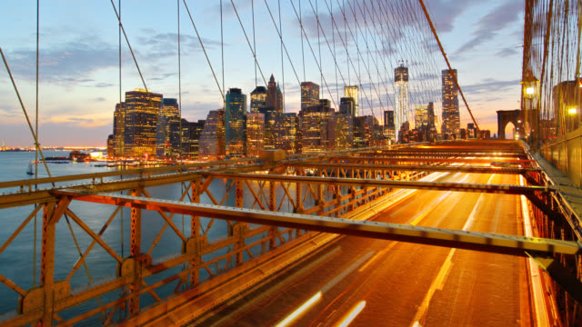 brooklyn bridge by night - brooklyn bridge stock videos & royalty-free footage