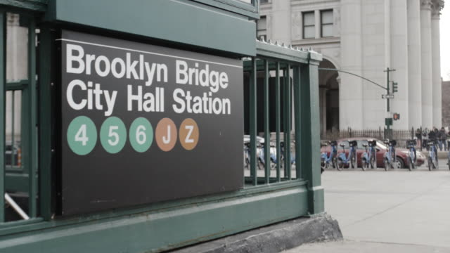 stockvideo's en b-roll-footage met brooklyn bridge city hall subway station - town hall