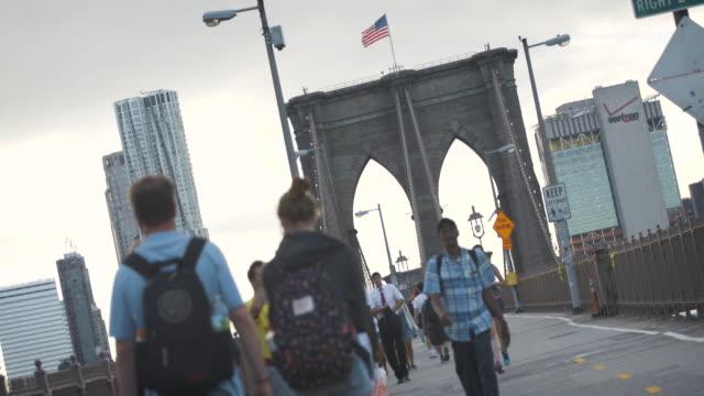 Brooklyn Bridge - establishing shot - sunset - bike path - summer 2016 - 4k