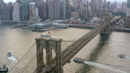 AERIAL Brooklyn Bridge over East River