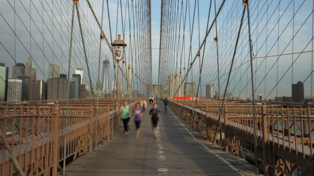 Brooklyn Bridge Pedestrian walkway with emphasis on cables