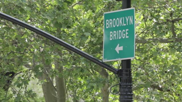 Brooklyn Bridge sign, New York City, Manhattan, New York, USA, North America