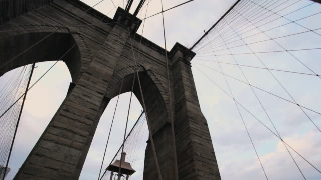 brooklyn bridge stormy silhouette - brooklyn bridge stock videos & royalty-free footage