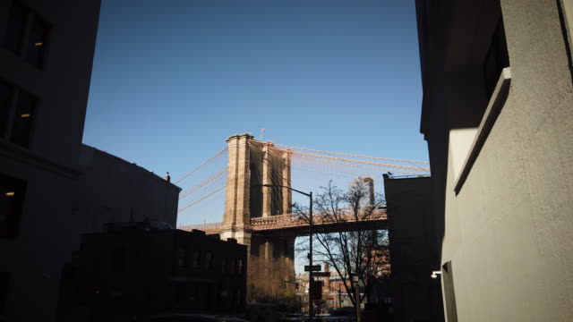 brooklyn bridge view from brooklyn heights - high contrast stock videos & royalty-free footage