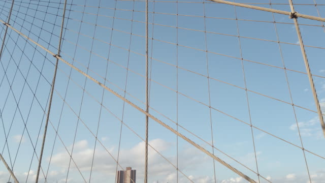 brooklyn bridge wires detail view with subtle motion - arts culture and entertainment video stock e b–roll