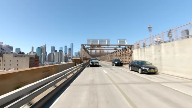 brooklyn bridge xix synched series rear view driving studio process plate - brooklyn bridge stock videos & royalty-free footage