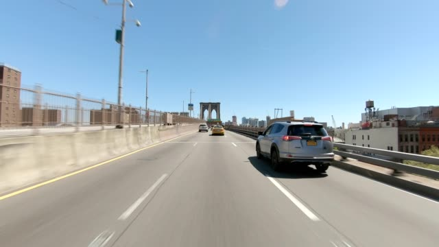 brooklyn bridge xxxix synched series front view driving studio process plate - car point of view stock videos & royalty-free footage