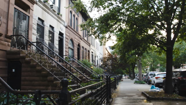 Brooklyn Brownstone at sunset - establishing shot - 4k
