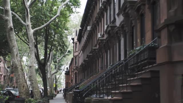 brooklyn brownstone entrance establishing shot - new york city circa june 2016 - treelined stock videos & royalty-free footage