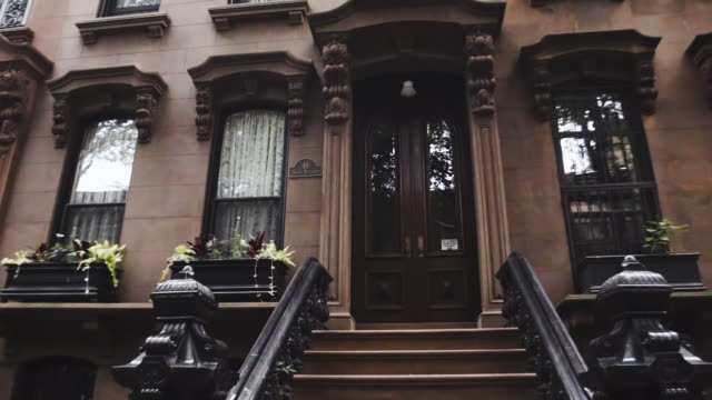 Brooklyn Brownstone entrance establishing shot - New York City