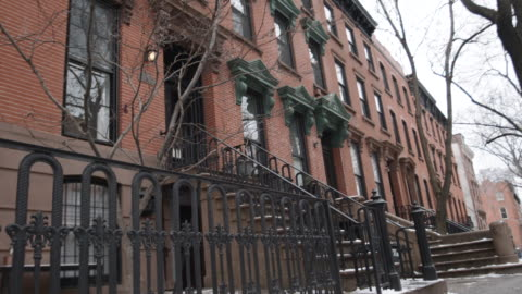 brooklyn brownstone winter - townhouse stock videos & royalty-free footage