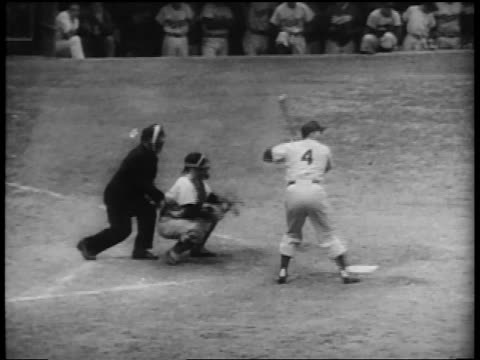 Brooklyn Dodger Duke Snider at bat / walks to first base / World Series