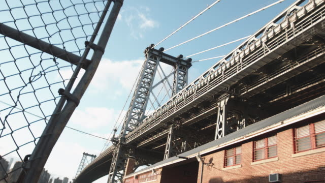 brooklyn establishing shot - williamsburg bridge stock videos and b-roll footage