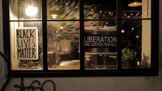 brooklyn, nyc. social justice signage. - social justice concept stock videos & royalty-free footage