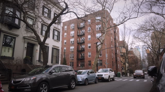 brooklyn street day with cars - townhouse stock videos & royalty-free footage